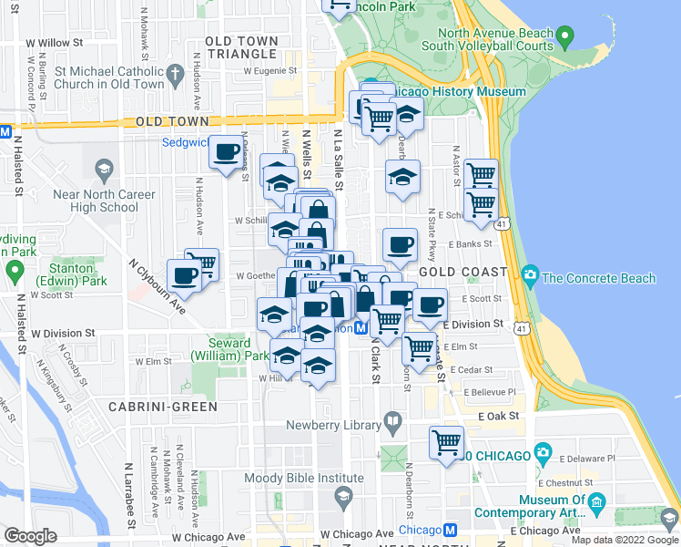 map of restaurants, bars, coffee shops, grocery stores, and more near N LaSalle St & W Goethe St in Chicago