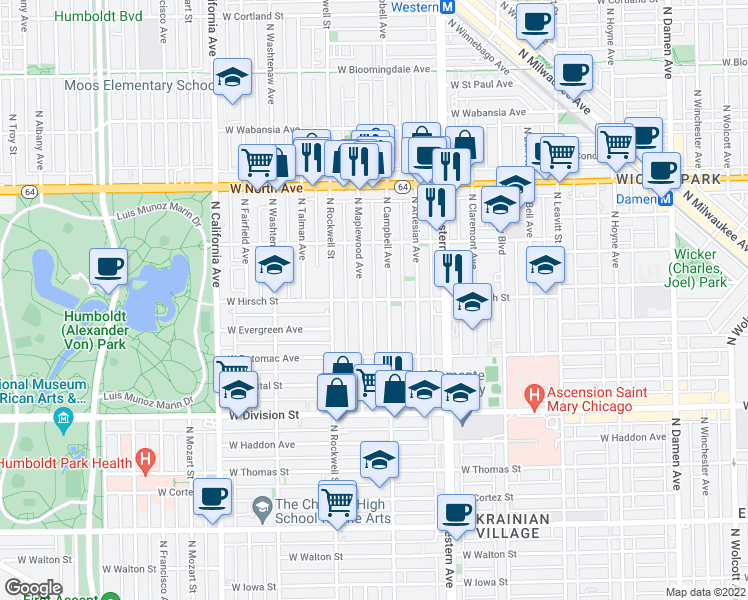 map of restaurants, bars, coffee shops, grocery stores, and more near West Hirsch Street in Chicago