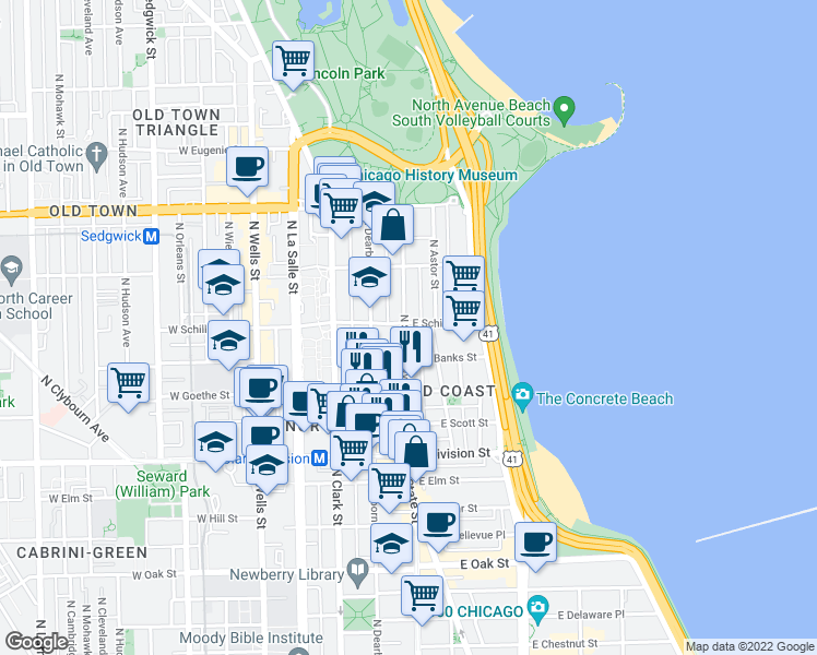 map of restaurants, bars, coffee shops, grocery stores, and more near 324 West Elm Street in Chicago