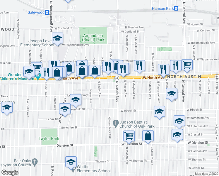 map of restaurants, bars, coffee shops, grocery stores, and more near 1216 North Humphrey Avenue in Oak Park