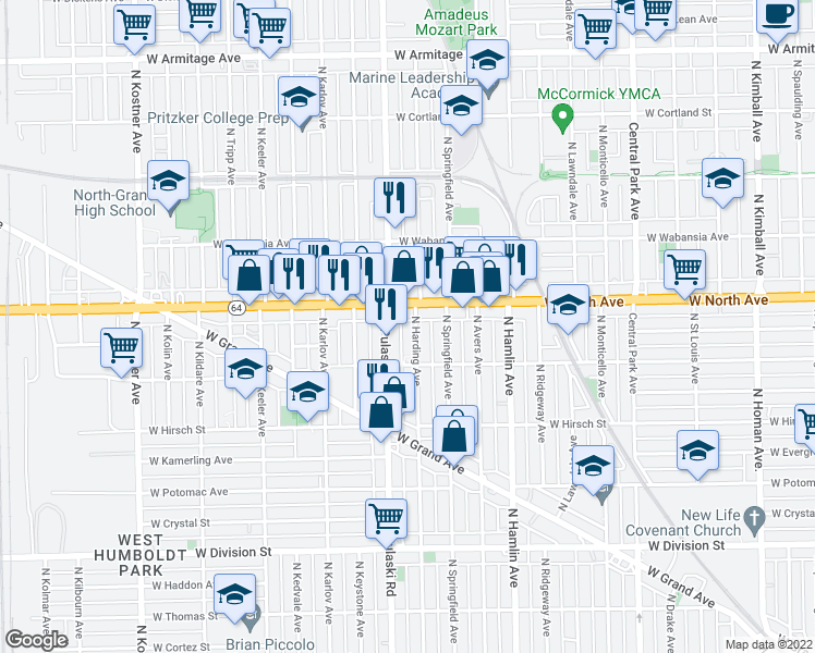map of restaurants, bars, coffee shops, grocery stores, and more near 1538 North Harding Avenue in Chicago