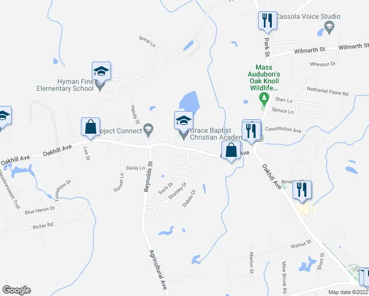 map of restaurants, bars, coffee shops, grocery stores, and more near 14-158 Melissa Dr in Attleboro