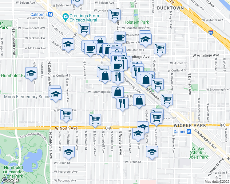 map of restaurants, bars, coffee shops, grocery stores, and more near 2418 West Bloomingdale Avenue in Chicago