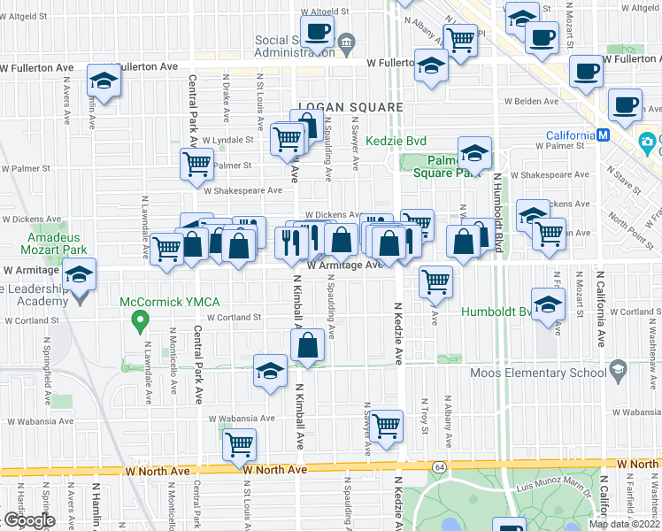 map of restaurants, bars, coffee shops, grocery stores, and more near West Armitage Avenue & North Spaulding Avenue in Chicago