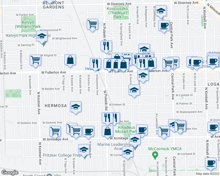 map of restaurants, bars, coffee shops, grocery stores, and more near West Belden Avenue in Chicago