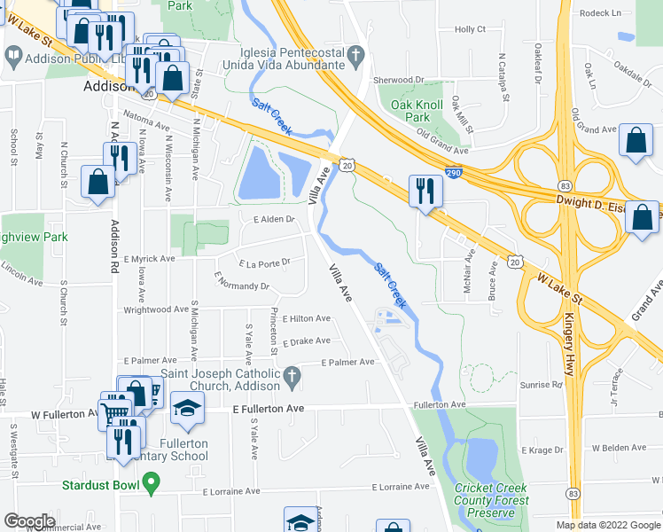 map of restaurants, bars, coffee shops, grocery stores, and more near 101-229 Villa Avenue in Addison