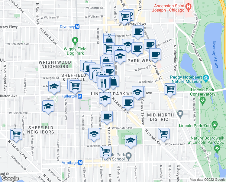 map of restaurants, bars, coffee shops, grocery stores, and more near 742 West Fullerton Avenue in Chicago