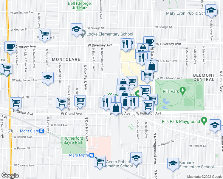 map of restaurants, bars, coffee shops, grocery stores, and more near 18 in Chicago