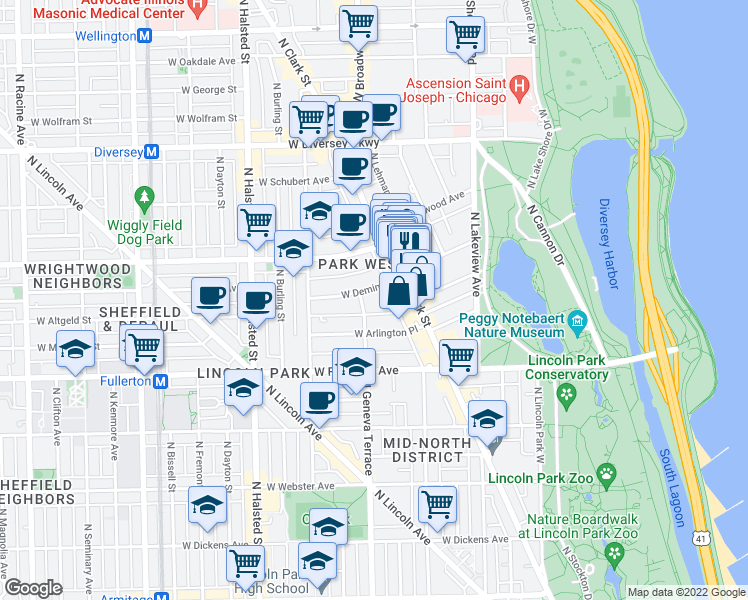map of restaurants, bars, coffee shops, grocery stores, and more near 537 West Deming Place in Chicago