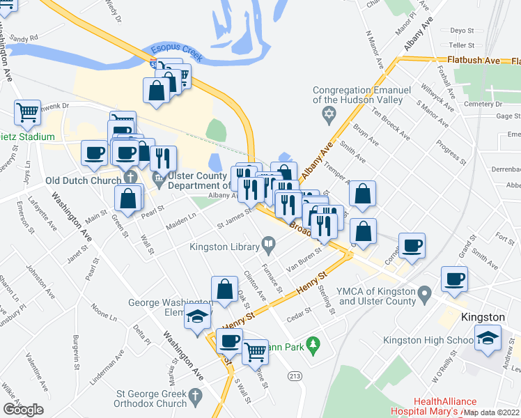 map of restaurants, bars, coffee shops, grocery stores, and more near 71 Albany Avenue in Kingston