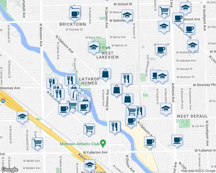 map of restaurants, bars, coffee shops, grocery stores, and more near 2800 North Damen Avenue in Chicago