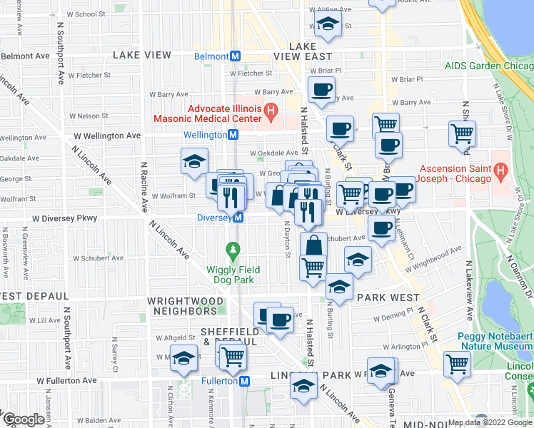 map of restaurants, bars, coffee shops, grocery stores, and more near West Diversey Parkway & North Mildred Avenue in Chicago