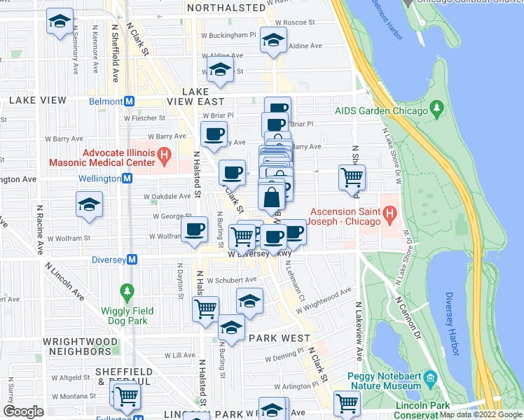 map of restaurants, bars, coffee shops, grocery stores, and more near 617 W Oakdale Ave in Chicago