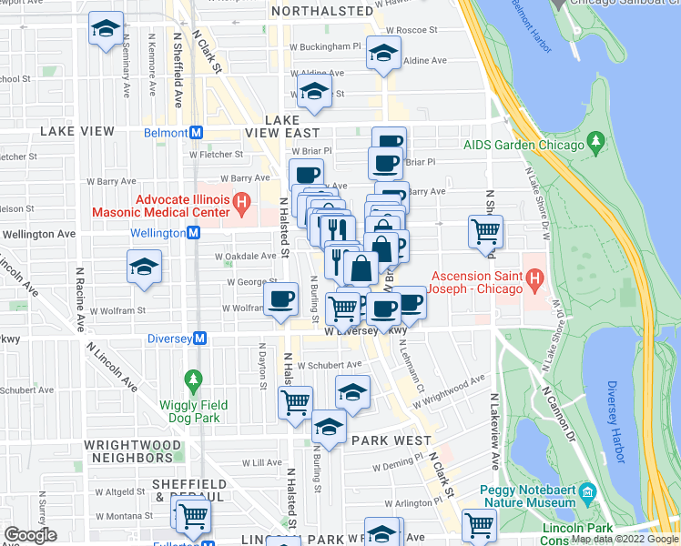 map of restaurants, bars, coffee shops, grocery stores, and more near North Clark Street & West Surf Street in Chicago