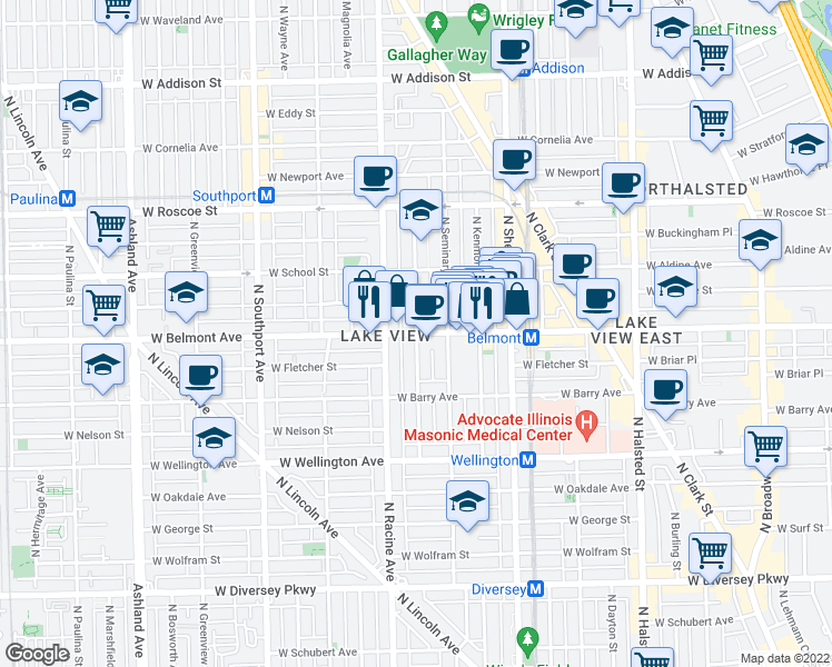 map of restaurants, bars, coffee shops, grocery stores, and more near West Belmont Avenue in Chicago