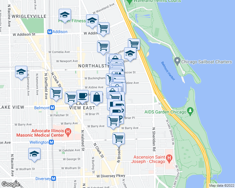 map of restaurants, bars, coffee shops, grocery stores, and more near North Broadway Street & West Melrose Street in Chicago