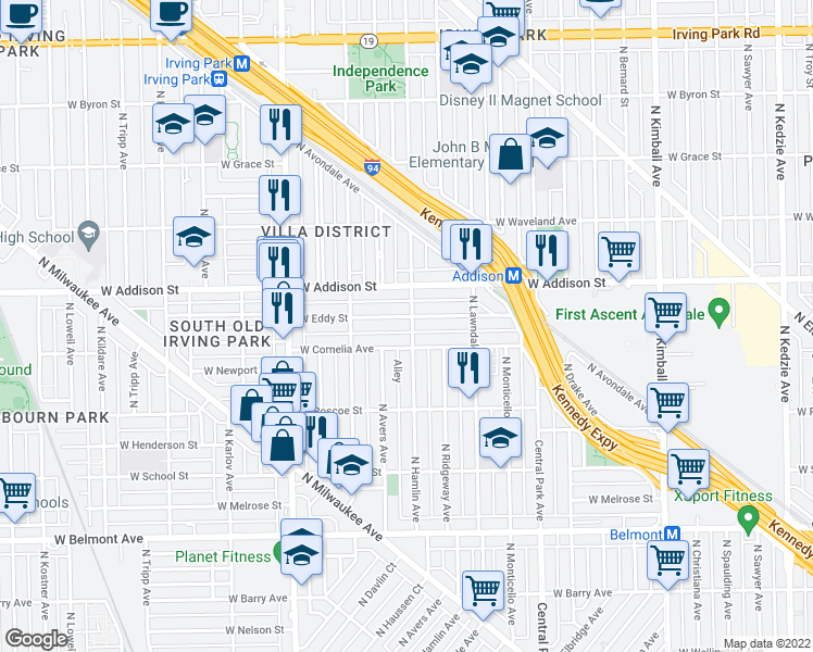map of restaurants, bars, coffee shops, grocery stores, and more near 3811 W Addison St in Chicago