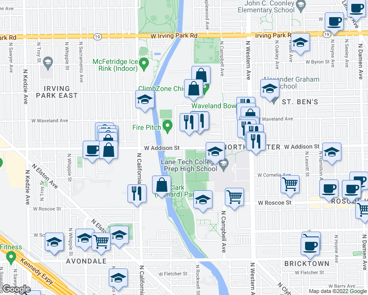 map of restaurants, bars, coffee shops, grocery stores, and more near N Branch Riverwalk in Chicago