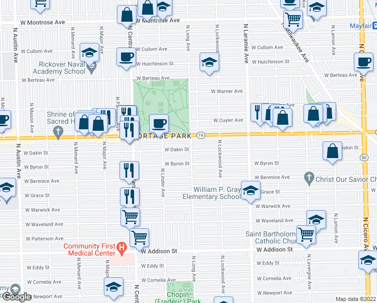 map of restaurants, bars, coffee shops, grocery stores, and more near 5403 West Dakin Street in Chicago
