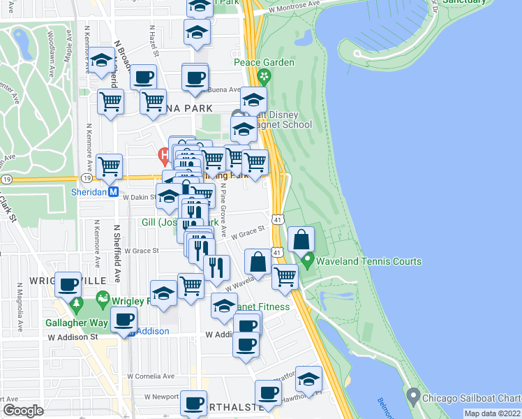 map of restaurants, bars, coffee shops, grocery stores, and more near 3901-3955 North Lake Shore Drive in Chicago