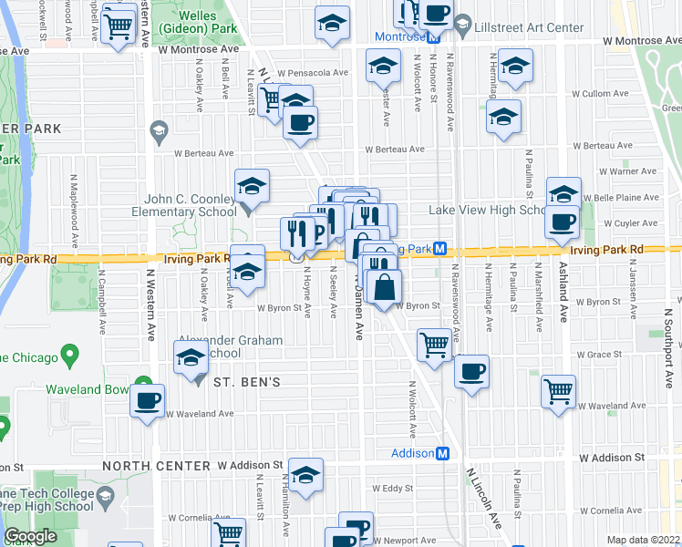 map of restaurants, bars, coffee shops, grocery stores, and more near 3939 North Seeley Avenue in Chicago
