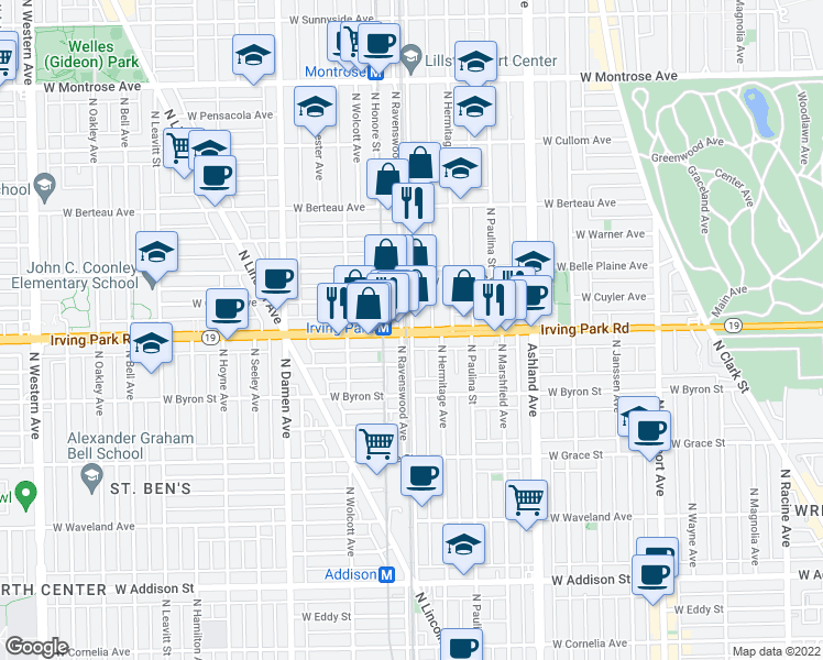map of restaurants, bars, coffee shops, grocery stores, and more near W Irving Park Rd & N Ravenswood Ave in Chicago