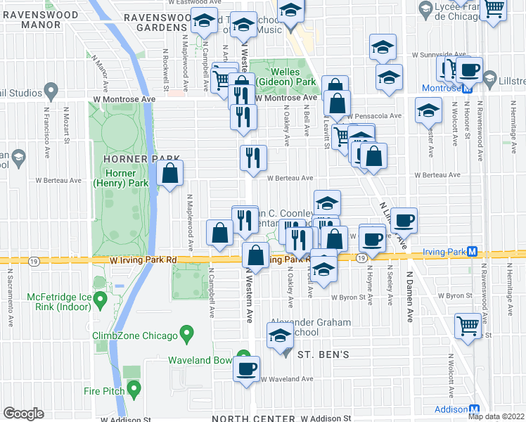 map of restaurants, bars, coffee shops, grocery stores, and more near 4108 North Claremont Avenue in Chicago