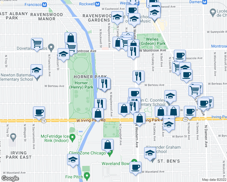 map of restaurants, bars, coffee shops, grocery stores, and more near 4143 North Maplewood Avenue in Chicago