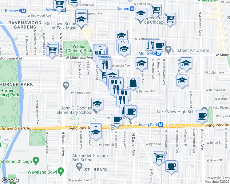 map of restaurants, bars, coffee shops, grocery stores, and more near North Lincoln Avenue & West Berteau Avenue in Chicago