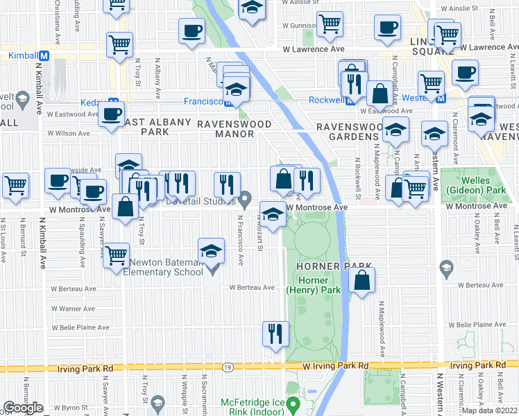 map of restaurants, bars, coffee shops, grocery stores, and more near West Montrose Avenue & North Mozart Street in Chicago