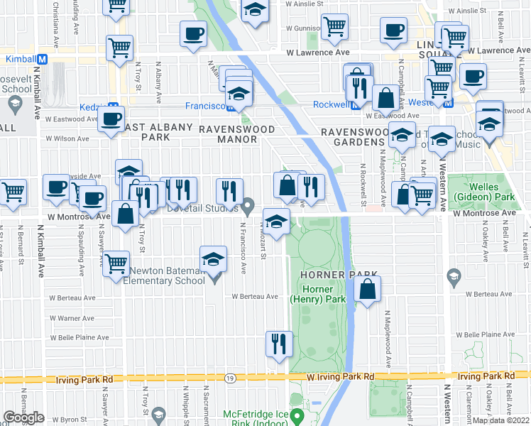 map of restaurants, bars, coffee shops, grocery stores, and more near 4403 North Mozart Street in Chicago