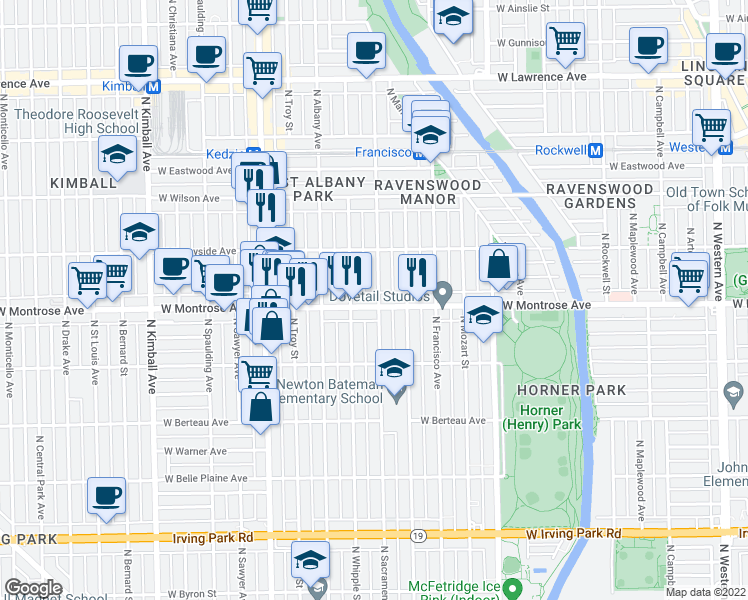 map of restaurants, bars, coffee shops, grocery stores, and more near 4410 North Sacramento Avenue in Chicago