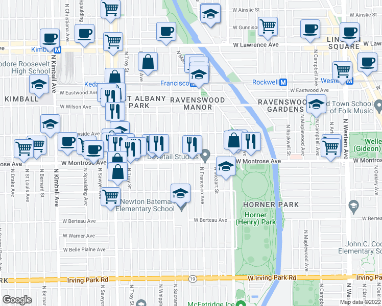 map of restaurants, bars, coffee shops, grocery stores, and more near 4443 North Richmond Street in Chicago