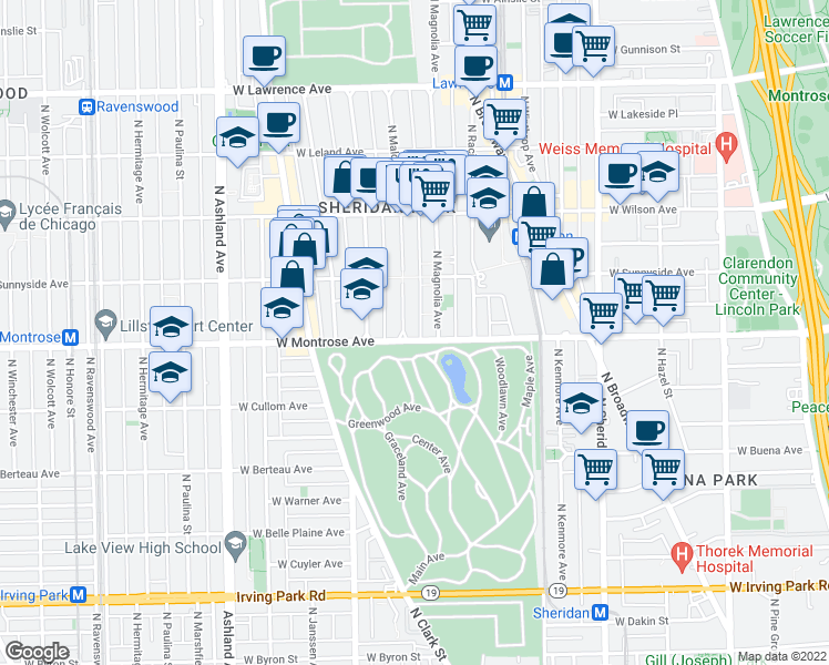 map of restaurants, bars, coffee shops, grocery stores, and more near 4424 N Magnolia Ave in Chicago