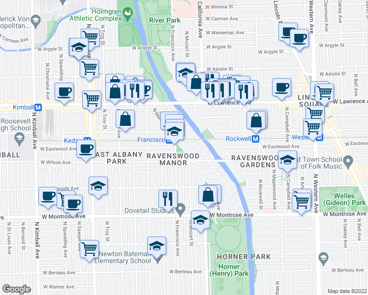 map of restaurants, bars, coffee shops, grocery stores, and more near 2856 West Eastwood Avenue in Chicago
