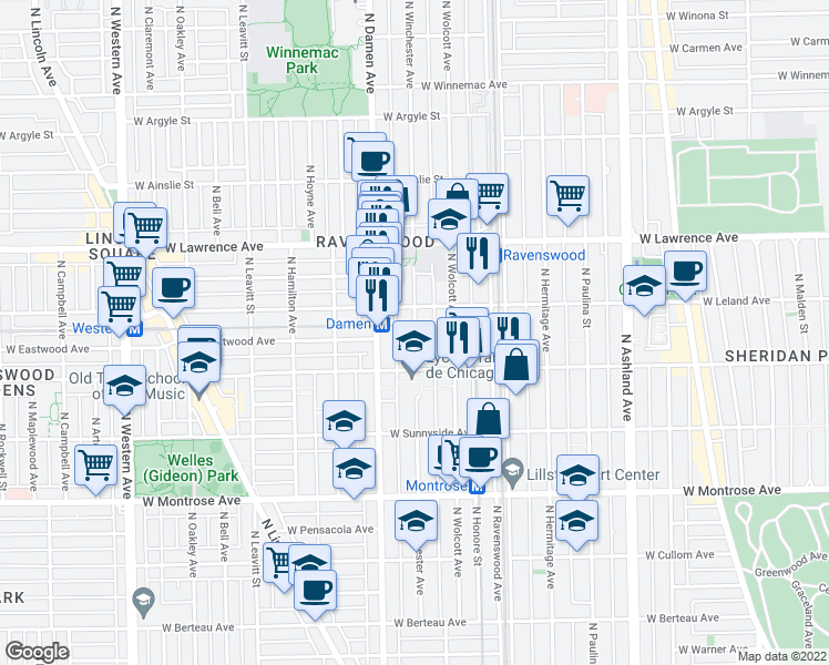 map of restaurants, bars, coffee shops, grocery stores, and more near 4629 North Winchester Avenue in Chicago