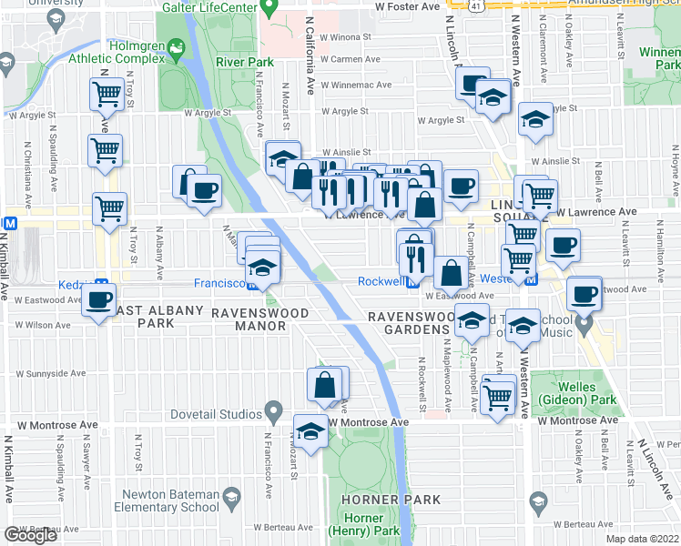 map of restaurants, bars, coffee shops, grocery stores, and more near 2729 West Leland Avenue in Chicago