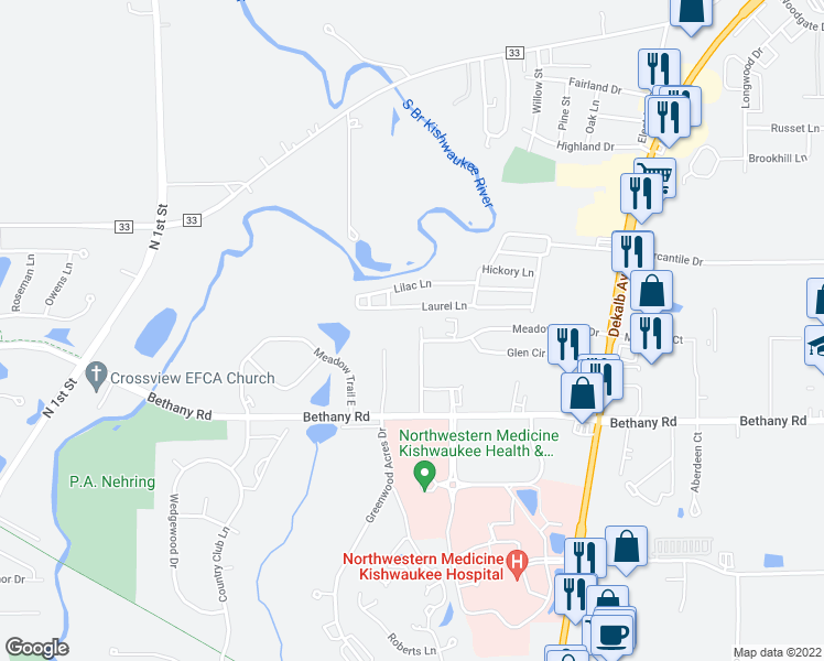 map of restaurants, bars, coffee shops, grocery stores, and more near 3345 Resource Parkway in DeKalb