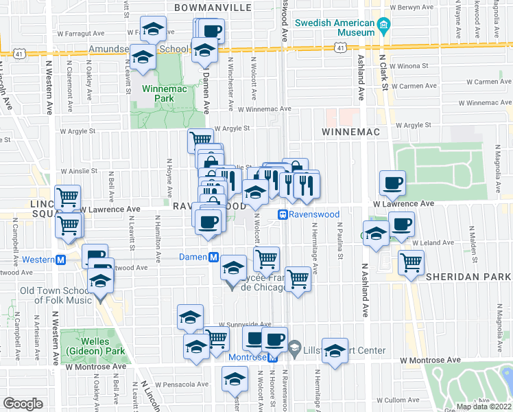map of restaurants, bars, coffee shops, grocery stores, and more near West Lawrence Avenue & North Wolcott Avenue in Chicago
