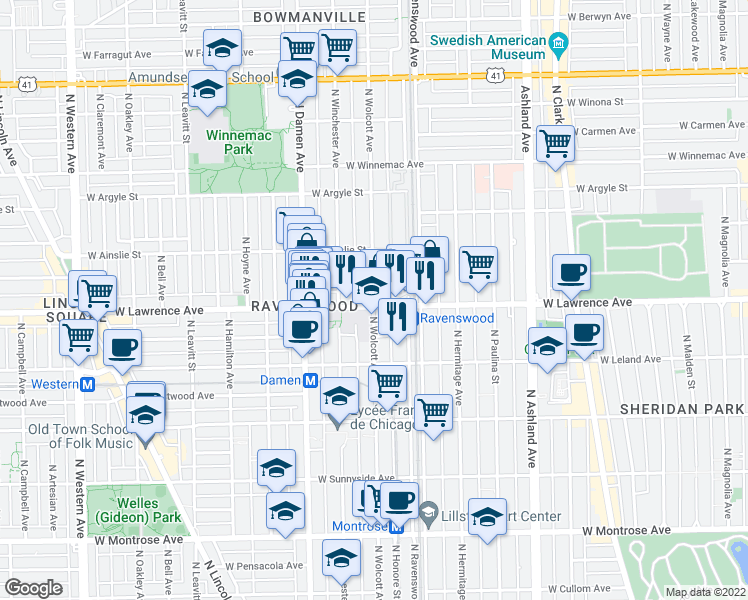 map of restaurants, bars, coffee shops, grocery stores, and more near 4805 North Wolcott Avenue in Chicago