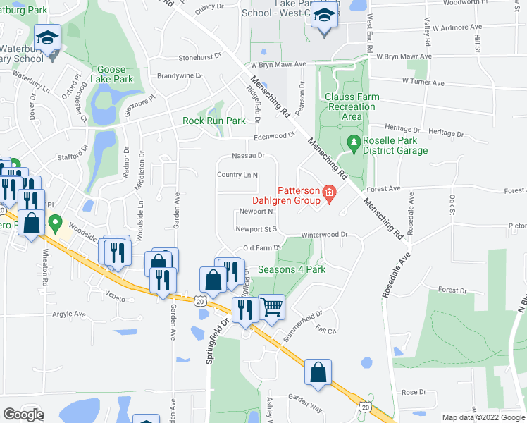 map of restaurants, bars, coffee shops, grocery stores, and more near 663 Newport N in Roselle
