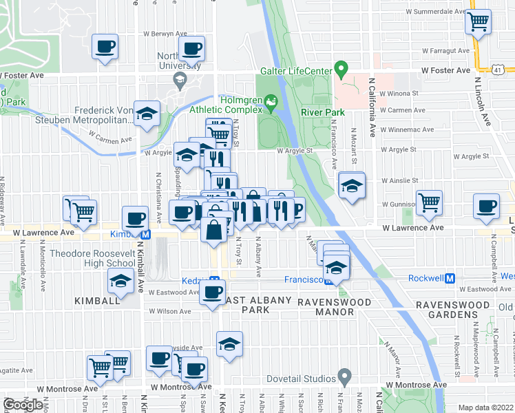 map of restaurants, bars, coffee shops, grocery stores, and more near 4854 North Albany Avenue in Chicago