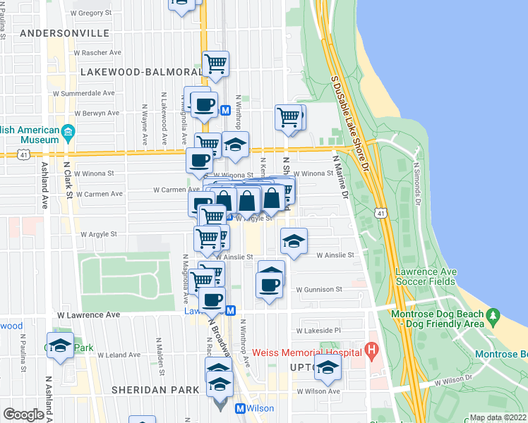 map of restaurants, bars, coffee shops, grocery stores, and more near 5014 North Kenmore Avenue in Chicago