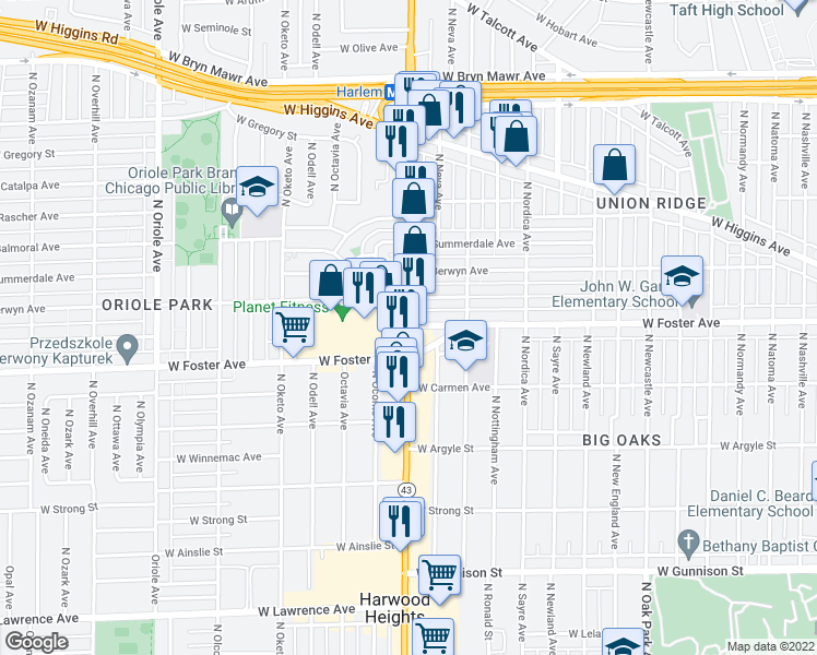map of restaurants, bars, coffee shops, grocery stores, and more near North Harlem Avenue & West Foster Avenue in Chicago