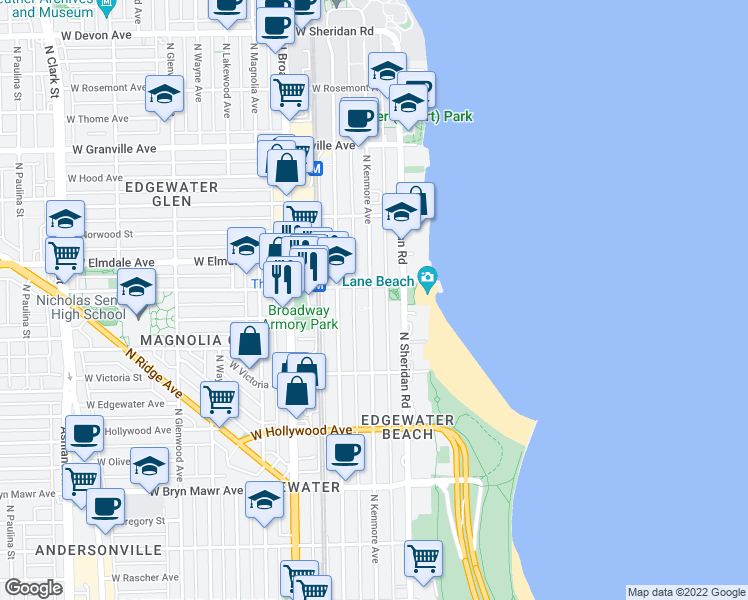 map of restaurants, bars, coffee shops, grocery stores, and more near 5900 North Kenmore Avenue in Chicago