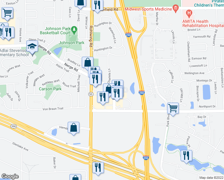 map of restaurants, bars, coffee shops, grocery stores, and more near 1045 Nerge Rd in Elk Grove Village