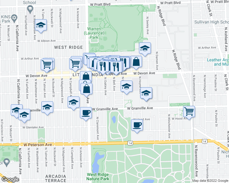 map of restaurants, bars, coffee shops, grocery stores, and more near West Rosemont Avenue & North Bell Avenue in Chicago