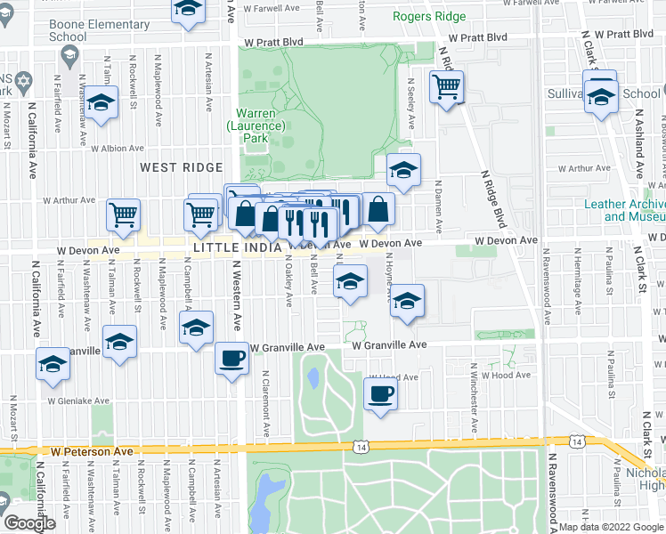 map of restaurants, bars, coffee shops, grocery stores, and more near 2212 West Highland Avenue in Chicago