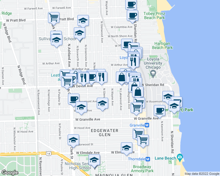 map of restaurants, bars, coffee shops, grocery stores, and more near 6350 North Wayne Avenue in Chicago