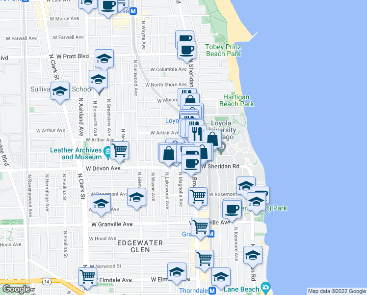 map of restaurants, bars, coffee shops, grocery stores, and more near 6441 N Magnolia Ave in Chicago